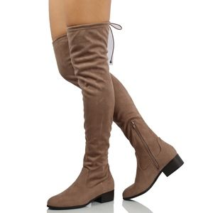 Taupe Faux Suede Back Tie Over the Knee Boot